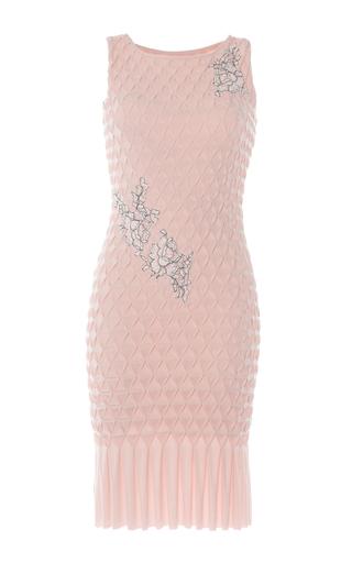 Medium huishan zhang light pink floral embroidered smocked sheath dress