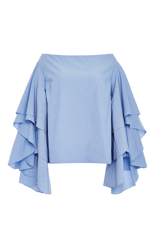 Medium rosie assoulin light blue ruffle sleeved off the shoulder top