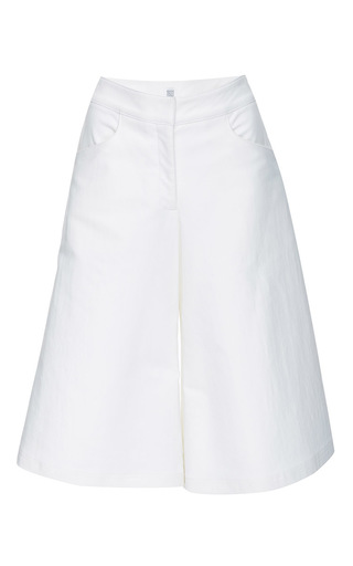 White Twill Wide Legged Shorts by ROSIE ASSOULIN Now Available on Moda Operandi