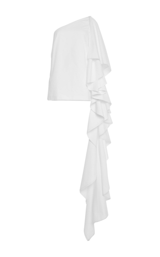White Cotton One Shouldered Top With Extended Ruffles by ROSIE ASSOULIN Now Available on Moda Operandi