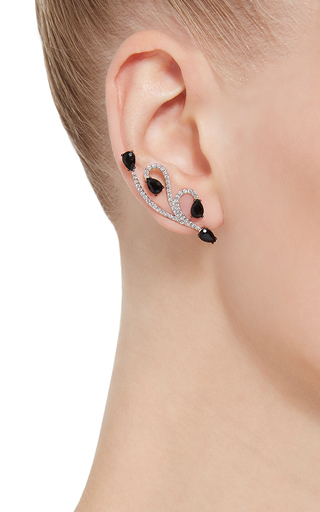 White Gold And Onyx Lucy Earrings by AS29 Now Available on Moda Operandi