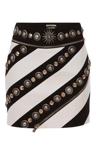 Medium fausto puglisi black embellished striped mini skirt