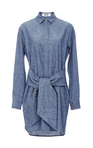 Medium msgm medium wash chambray dress with knotted detail