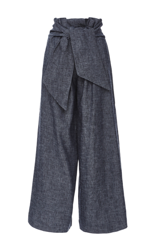 Chambray Culottes With Knotted Waist Front by MSGM Now Available on Moda Operandi