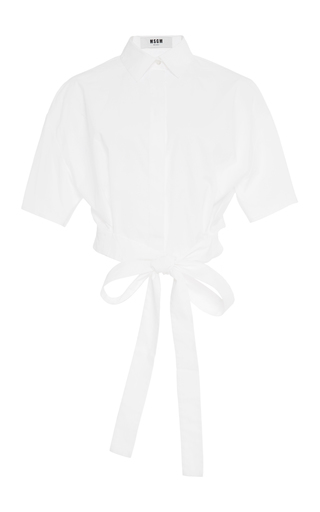Cropped Tie Waist Cotton Shirt  by MSGM Now Available on Moda Operandi