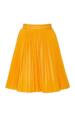 Yellow Cotton Plissé Skirt by MSGM Now Available on Moda Operandi