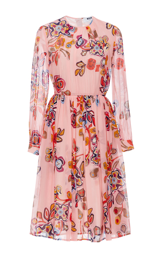 Silk Floral Printed Dress  by MSGM Now Available on Moda Operandi