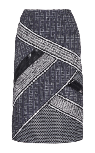Medium jonathan simkhai navy patchwork angle pencil skirt