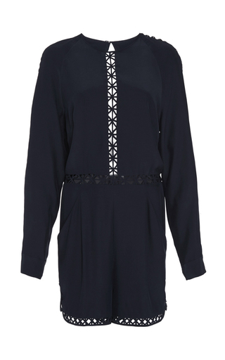 Medium jonathan simkhai navy crossbar silk romper