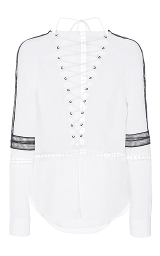 Medium jonathan simkhai white scallop silk laceup tunic