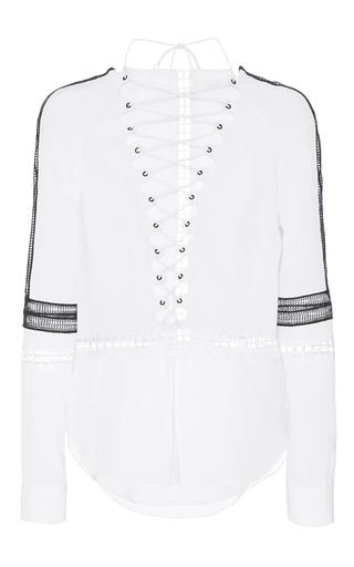 Medium jonathan simkhai white scallop silk laceup tunic