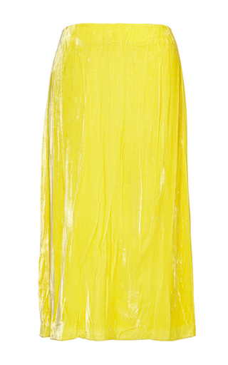Dandelion Crinkled Velvet Skirt by NINA RICCI Now Available on Moda Operandi