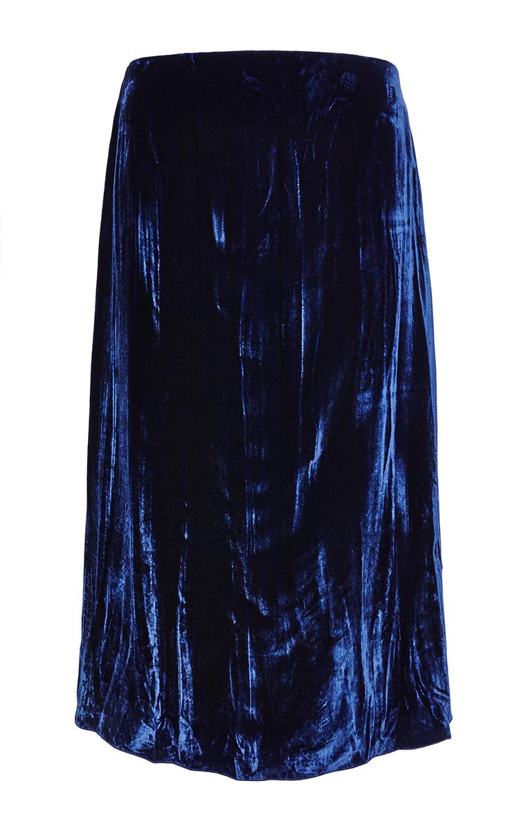 midnight blue crinkled velvet skirt by ricci moda