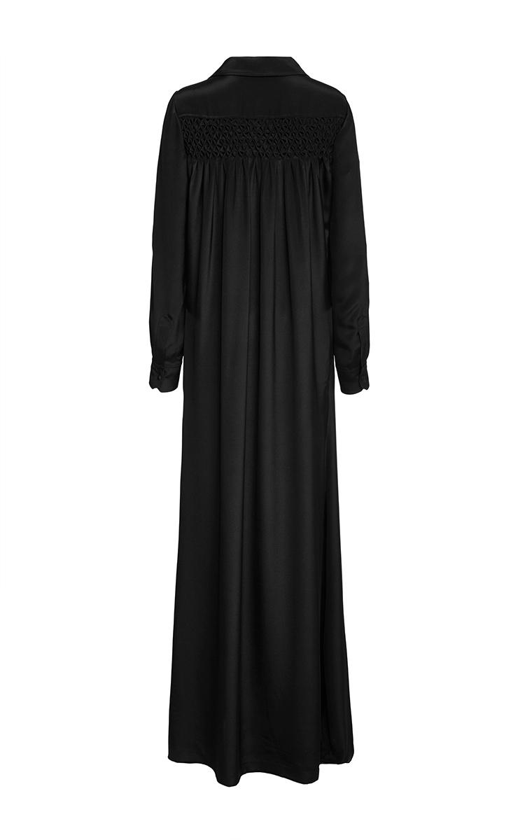 Black silk long sleeve shirt dress by veronique moda for Long sleeve silk shirt dress