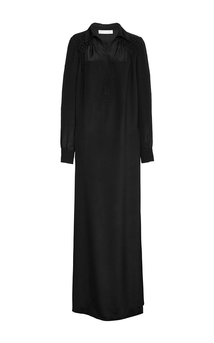 Black Silk Long Sleeve Shirt Dress By Veronique Moda