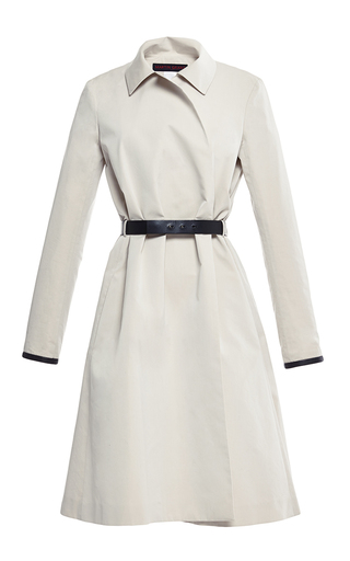 Medium martin grant off white cotton silk trench coat with leather trim