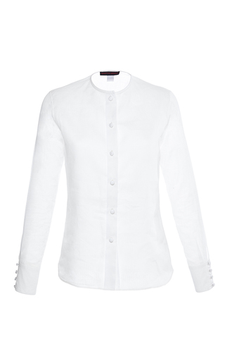 Medium martin grant white linen silk white collarless shirt