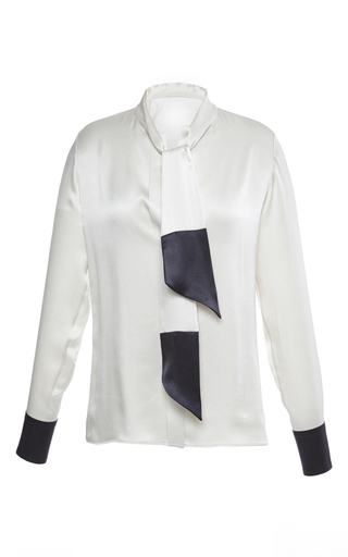 Medium martin grant white silk satin blouse with tie