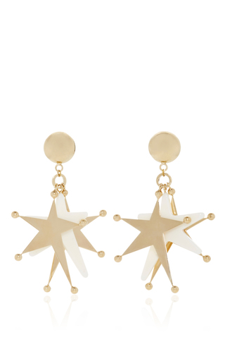 Medium marni ivory triple star pendant earrings