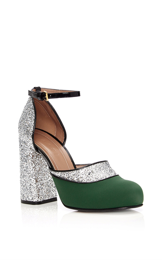 Calf Leather & Glitter Mary Jane Pumps by MARNI Now Available on Moda Operandi