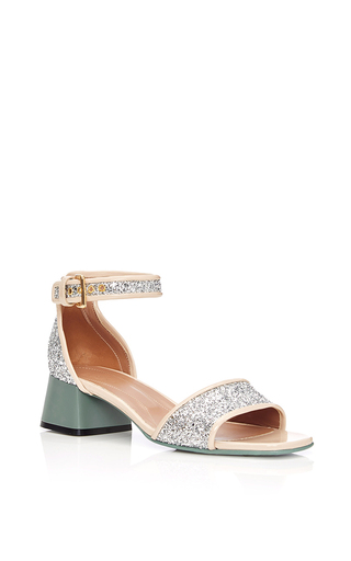 Medium marni silver calf leather glitter sandals