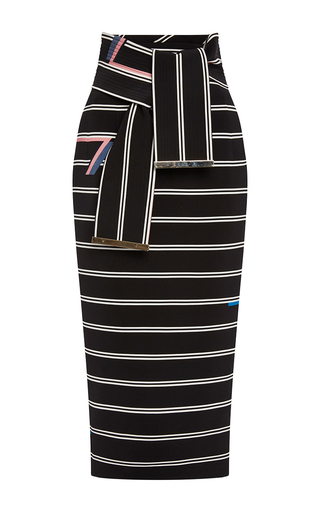 Medium preen black eunice striped pencil skirt with tie belt