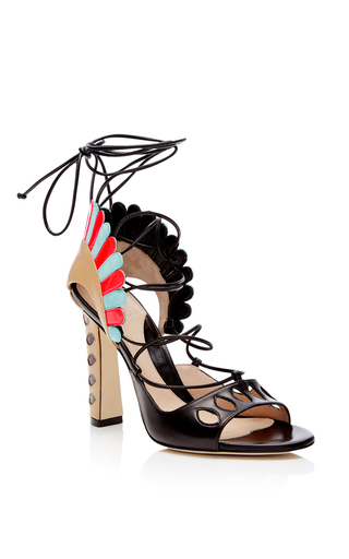 Lotus Leather Scallop Sandals by PAULA CADEMARTORI Now Available on Moda Operandi