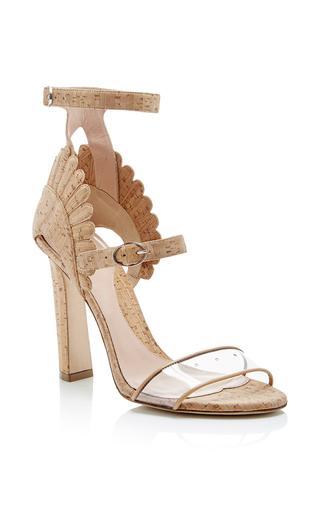 Medium paula cademartori nude cork double strapped ninfea sandals with scalloped back