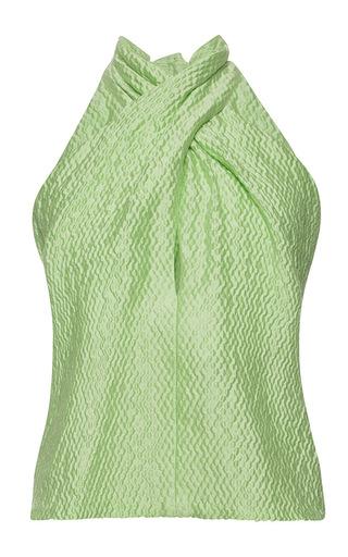 Medium natasha zinko green green jacquard scarf neck top