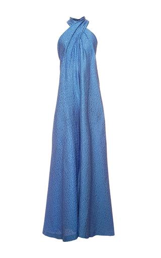 Medium natasha zinko blue jacquard scarf neck jumpsuit