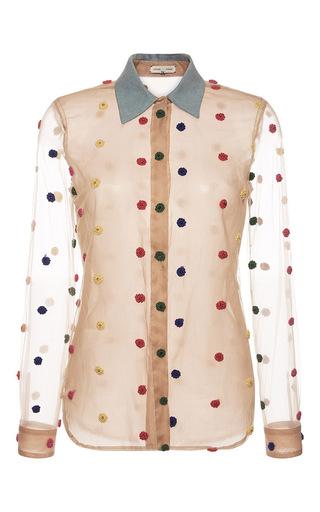 Medium natasha zinko tan dot embroidered mesh shirt