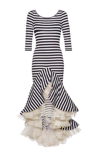 Striped Jersey Dress With Ruffles by NATASHA ZINKO Now Available on Moda Operandi