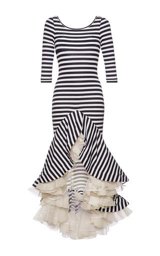 Medium natasha zinko stripe striped jersey dress with ruffles