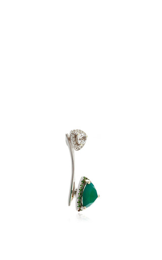 White Crystal And Agate Earring Cuff by RUNA Now Available on Moda Operandi