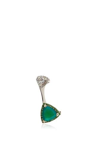 Medium runa gold white crystal and agate earring cuff