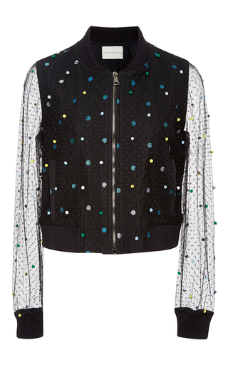 Medium mary katrantzou multi sparkle and mesh bomber jacket