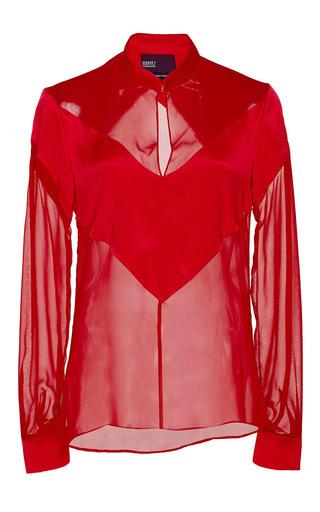 Medium bibhu mohapatra red red tonal v silk shirt