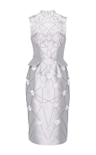 Medium bibhu mohapatra light grey flower embroidered cocktail dress