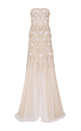 Medium bibhu mohapatra ivory strapless floral embroidered gown
