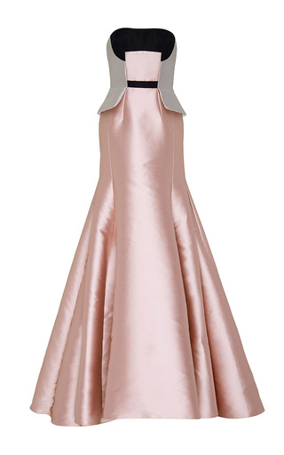 Medium bibhu mohapatra light pink color blocked stapless gown