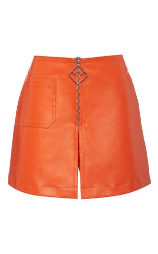 Medium bally orange leather skirt in blaze orange