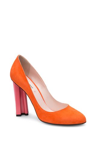 Medium bally orange suede pumps in blaze orange