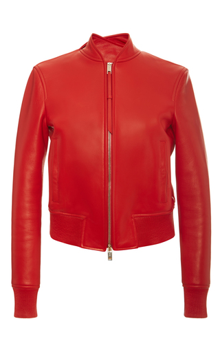 Medium bally red nappa leather bomber jacket in costeau red
