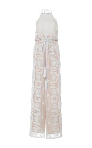 Medium miguelina white harriet floral cinched jumpsuit