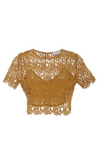 Medium miguelina gold lulu lace short sleeved top