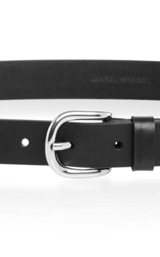 Black Calf Leather Skinny Belt With Silver Buckle by ISABEL MARANT Now Available on Moda Operandi