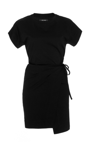 Medium isabel marant black senga cotton t shirt dress with belted waistline