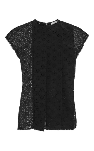 Black Cotton Broderie Anglaise Lace Top by NINA RICCI Now Available on Moda Operandi