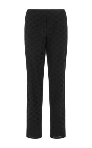 Black Broderie Anglaise Lace Cropped Trousers by NINA RICCI Now Available on Moda Operandi