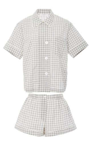 Medium araks plaid organic cotton gingham shirt and shorts pajama set